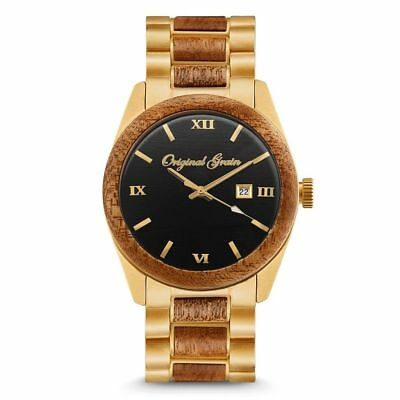 Original Grain NEW Classic - 43MM Mahogany Wood and Antique Gold Stainless Steel