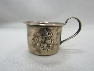 Vintage Webster Sterling Silver Floral Fruit Repousse Baby Cup 22541