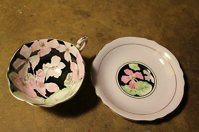 Vintage Paragon fine bone china tea cup and saucer - pink  flowers