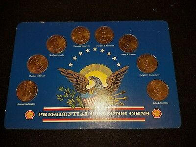 Shell Presidential Coins Complete Set of 8 with Frame