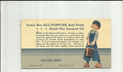 1920's DUTCH BOY PAINT KINGSTON NY Dwyer Brothers Advertising Ink Blotter