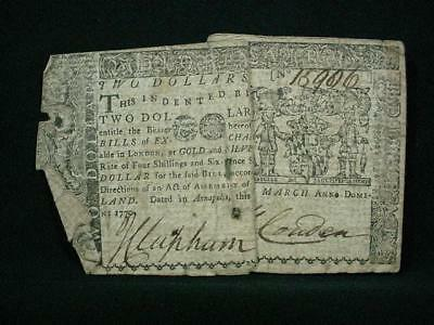 NobleSpirit NO RESERVE {3970}Magnificent 1770 Marlyand $2 Colonial Currency
