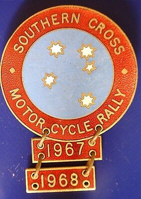 1967-68 Southern Cross Motor Cycle Rally Badge 40mm with 2 date bars