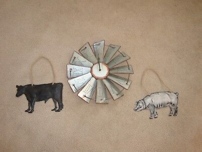 REDUCED Windmill Clock-Pig-Cow Wall Hangings-Farmhouse Decor-Primitive-Rustic