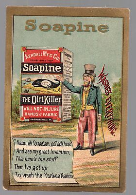 Vintage Victorian Trade Card, Soapine The Dirt Killer. Best Soap Ever Made
