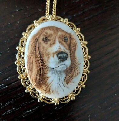 Vintage Cocker Spaniel Dog Puppy Brooch Pin Necklace Pendant Beautiful Jewelry