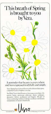 1976 Vera Fabrics Spring Daisy Spray Flower Design Ad
