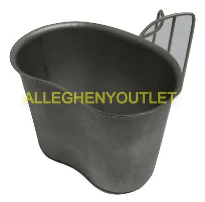 Genuine Us Military Stainless Canteen Cup Army Butterfly Wire Handle Nice