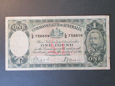 1933 One Pound Bank Note Riddle/Sheehan *