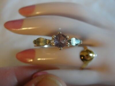 Vintage Peridot and Amethyst Sterling Silver Lady's Ring Signed 925 Size 7
