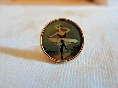 Antique Hand Painted Porcelain French Can-Can Dancer Gold Button