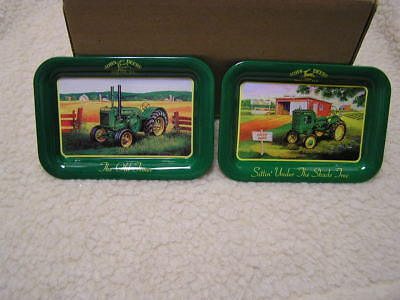 "John Deere Farm Tractor 2 Metal Trays 4 1/2"" BY 6 3/4"" VINTAGE COLLECTIBLES"