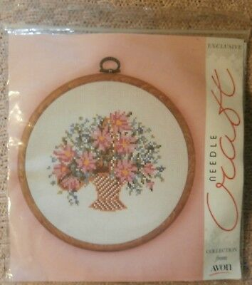 COUNTED CROSS STITCH EMBROIDERY KIT - Needle Craft FLOWER BASKET by Avon - NEW