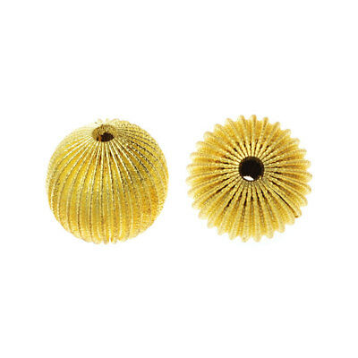Vintage Metal Beads, Corrugated Round Beads 20mm, 6 Pieces, Yellow Brass