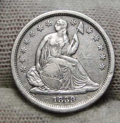 1839 Seated Liberty Dime 10C  - Nice Coin, Free Shipping (6932)
