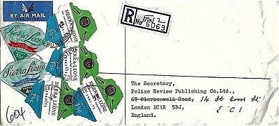 Registered Cover with Stamps Sierra Leone to England 1972