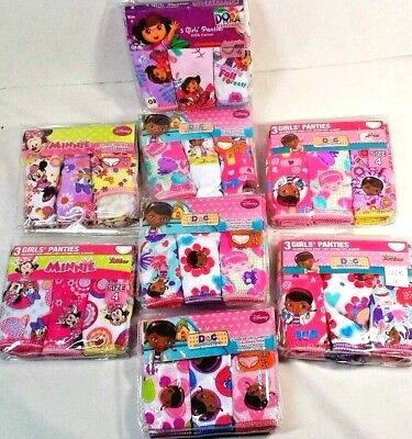 Girls Underwear Panties & shirts Choice  2T/3T or 4  Dora Minnie Doc New 3 pack