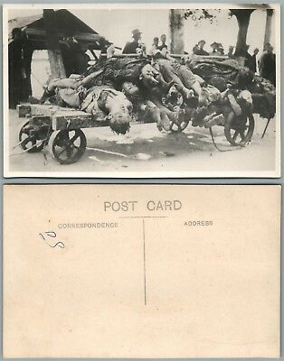 Chinese Dead Bodies Cart Vintage Real Photo Postcard Rppc China