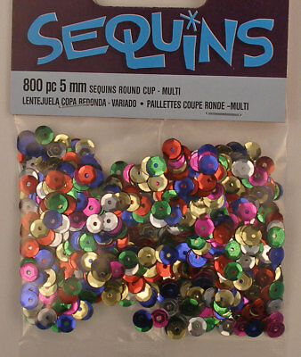 Sequins Loose Mixed Colored Round Cup 5mm 1600 pieces