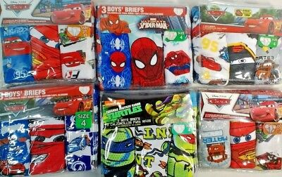 Boys Underwear Briefs Choice  2T/3T or 4   New 3 pack Cars Spiderman Turtles