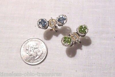 "Scarf dress clip pair of 2 rhinestones blue green silver colored metal 1"" across"