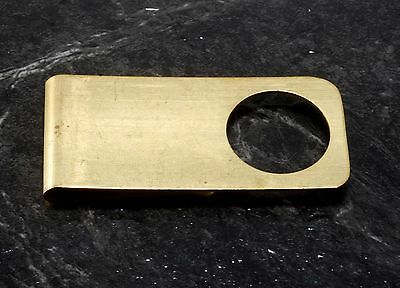 Vintage Collectible Antique Stamped w Hole Thin Brass Money Clip New Old Stock