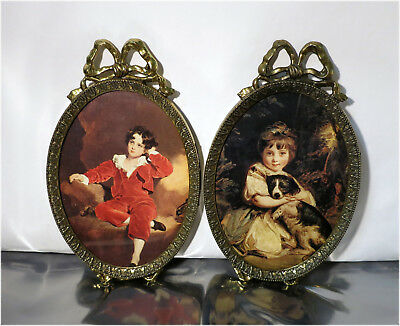 2 x Vintage Ornate Brass Picture Frames, Made in Italy, Boy in Red, Girl w/ Dog