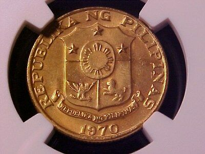 Philippines 25 Sentimos 1970 Brass Ms-66 Ngc Off-Metal Or Pattern Unlisted