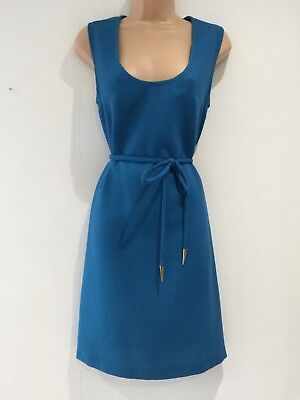 Vintage 70's Peacock Blue Sleeveless Belted Day Work Office Day Dress Size 10-12