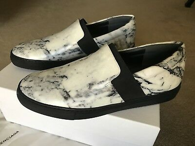 52d6508d897d6 BALENCIAGA MEN'S SIZE 40 marble print leather sneakers white black NEW in  box