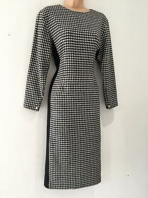 Japanese Vintage 80s Black & White Dogstooth Check Fitted Shift Dress Size 10