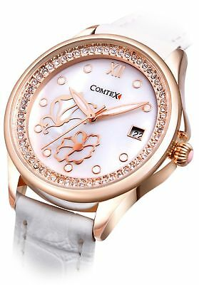 Comtex Women's Watches with Mother of Pearl Dial and White Leather Rose Gold Wat