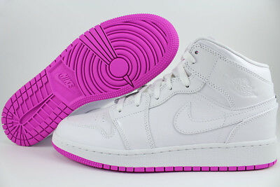 Nike Air Jordan 1 Mid Hi High White/fuchsia Pink Purple Women Girl Us Youth Size