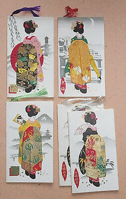 Geisha - Set Of 5 Vintage Japanese Woodblock / Woodcut Print Bridge Tally Cards