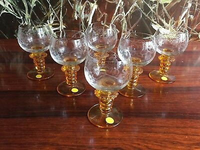 THERESIENTHAL GERMANY, 6 Fine Wine Glasses with traubenschliff