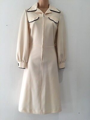 Vintage 70's Mod Cream & Brown Trim Long Sleeve Fit & Flare Day Dress Size 10