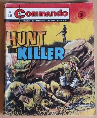 "COMMANDO # 356 ""Hunt the killer"" 1968 War Stories Picture Library comic"