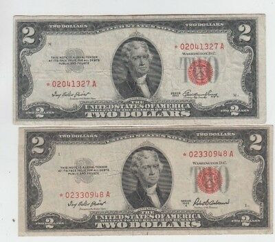 Legal Tender Red Seal $2 1953's STAR 2 notes fine-vf