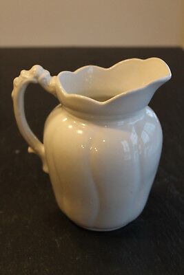 "Antique Bishop Stonier England White Ironstone 7"" Pitcher"