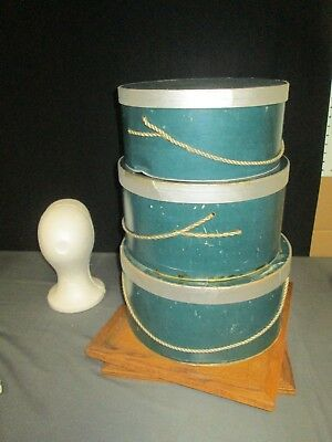 Set Of 3 Green Silver Nesting Hat Boxes Roots Individuality Always Original Rope