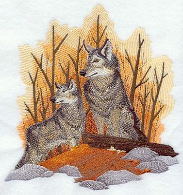 Embroidered Fleece Jacket - Autumn Wolf Pair D2258 Sizes S - XXL