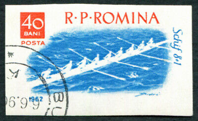 ROMANIA 1962 40b SG2928 used FG Boating and Sailing Racing eight IMPERF a3