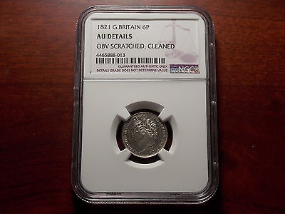 1821 Great Britain 6 Pence silver coin NGC AU Details