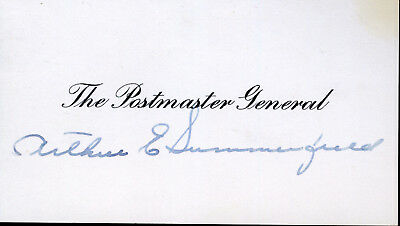 Arthur E Summerfield Signed Postmaster General Card
