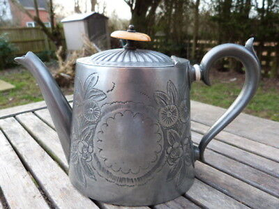 Lovely Ornate Antique Chased Metal Teapot By Isaac Ellis & Sons.sheffield.