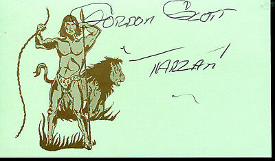 Gordon Scott Tarzan Actor Signed Card As Tarzan