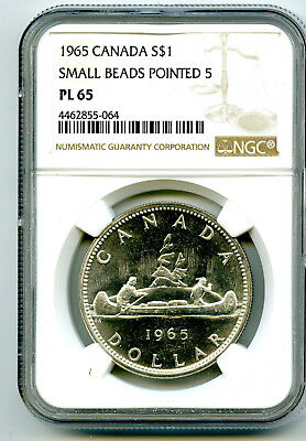 1965 $1 Canada Silver Dollar Ngc Pl65 Small Beads Pointed 5 Voyageur - Ms Unc