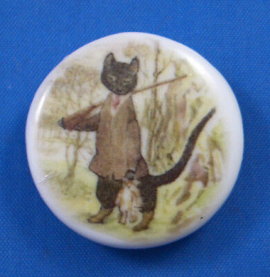 One Inch Porcelain China Button -- Beatrix Potter Kitty In Boots