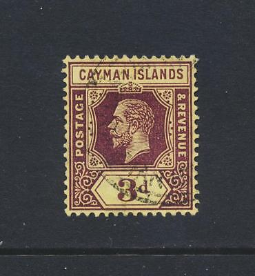 CAYMAN IS 1920, 3d PALE YELLOW, VF USED SG#45e CAT£30 $43 (SEE BELOW)