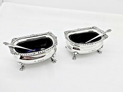 Pair Adie Bros. Art Deco Sterling Silver Blue Cobalt Lined Salt Cellars W/spoons